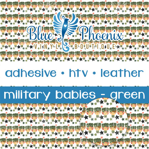 MILITARY BABIES - GREEN PATTERNED VINYL OR LEATHER