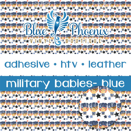 MILITARY BABIES - BLUE PATTERNED VINYL OR LEATHER