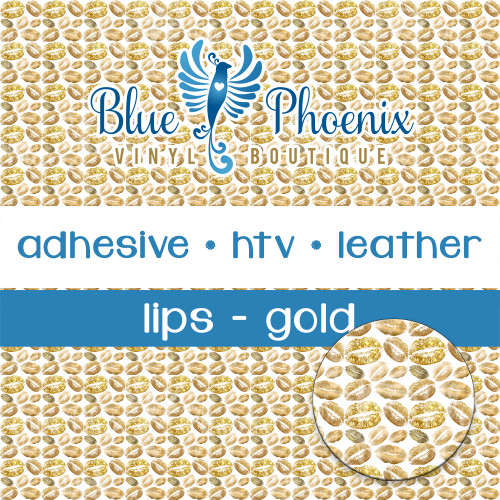 LIPS - GOLD PATTERNED VINYL OR LEATHER