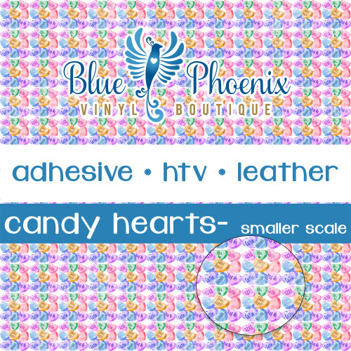 CANDY HEARTS SMALL SCALE PATTERNED VINYL OR LEATHER