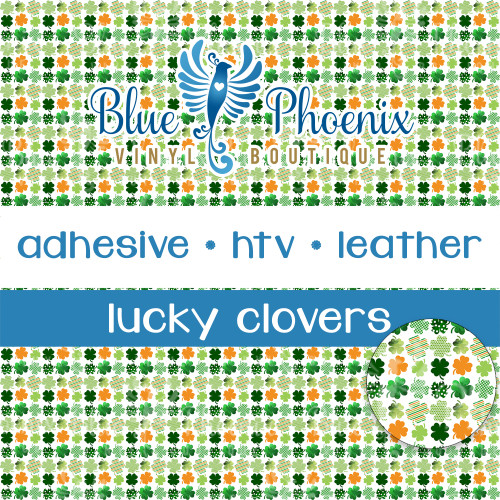 ST PATRICKS DAY LUCKY CLOVERS SMALL SCALE PATTERNED VINYL OR LEATHER