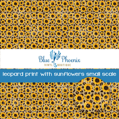 LEOPARD PRINT WITH SUNFLOWERS PATTERNED VINYL OR LEATHER