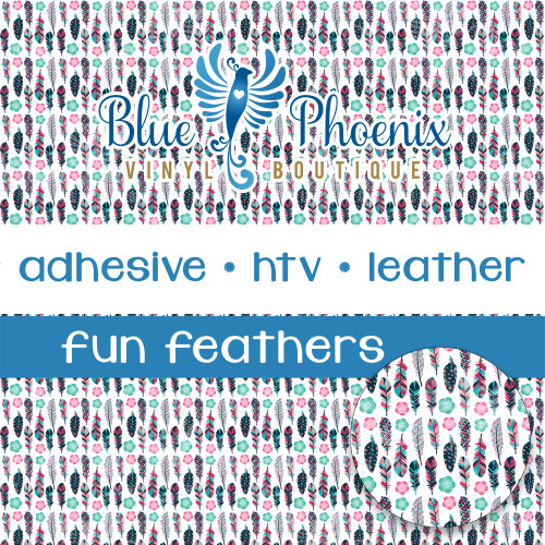 FUN FEATHERS PATTERNED VINYL OR LEATHER