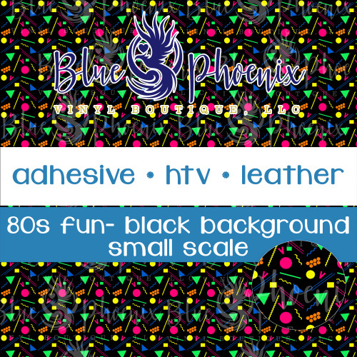 80s FUN BLACK BACKGROUND PATTERNED VINYL OR LEATHER