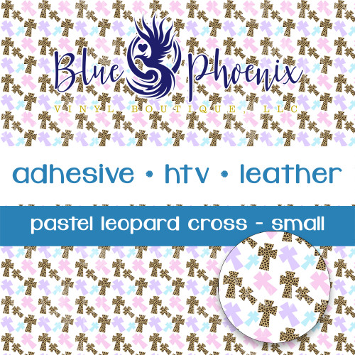 PASTEL LEOPARD CROSS PATTERNED VINYL OR LEATHER