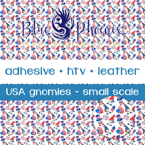 USA GNOMIES GNOMES SMALL SCALE PATTERNED VINYL OR LEATHER