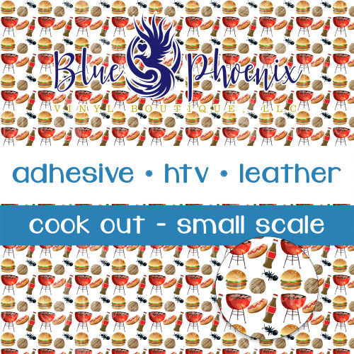 COOK OUT SMALL SCALE PATTERNED VINYL OR LEATHER