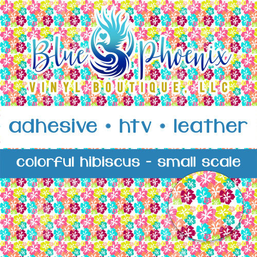 COLORFUL HIBISCUS PATTERNED VINYL OR LEATHER
