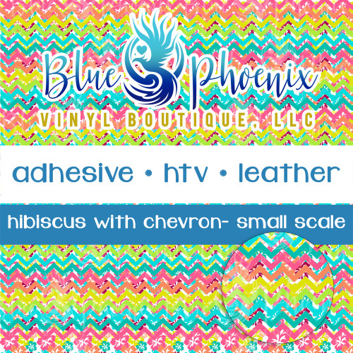 HIBISCUS AND CHEVRON PATTERNED VINYL OR LEATHER