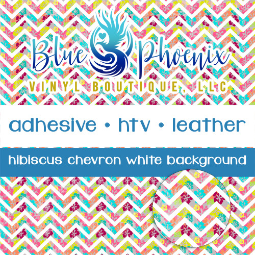 CHEVRON HIBISCUS WHITE BACKGROUND PATTERNED VINYL OR LEATHER