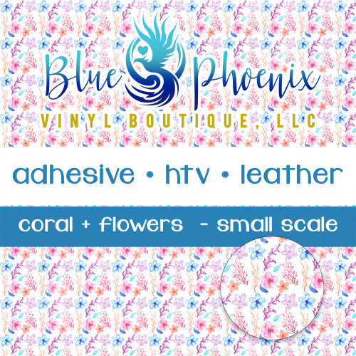 CORALS AND FLOWERS PATTERNED VINYL OR LEATHER