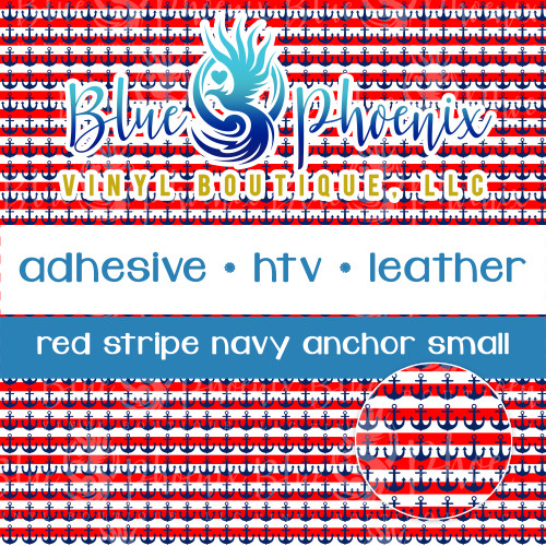 RED STRIPE NAVY ANCHOR PATTERNED VINYL OR LEATHER