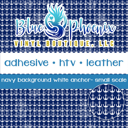 NAVY BACKGROUND WHITE ANCHOR PATTERNED VINYL OR LEATHER