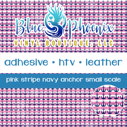 PINK STRIPE NAVY ANCHOR PATTERNED VINYL OR LEATHER