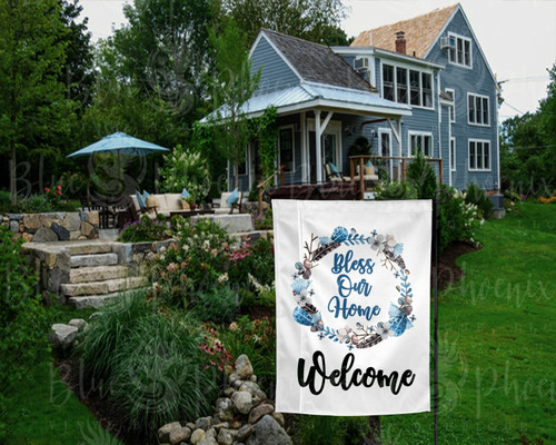 BLESS OUR HOME BLUE FEATHER MINI LAWN FLAG