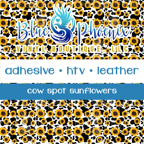 COW SPOTS WITH SUNFLOWERS PATTERNED VINYL OR LEATHER
