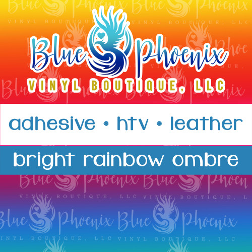 BRIGHT RAINBOW OMBRE PATTERNED VINYL OR LEATHER