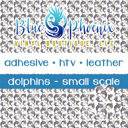 DOLPHINS PATTERNED LEATHER HTV ADHESIVE VINYL