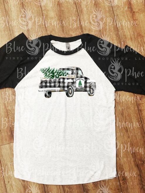 BLACK AND WHITE PLAID TRUCK WITH TREE READY TO PRESS TRANSFER
