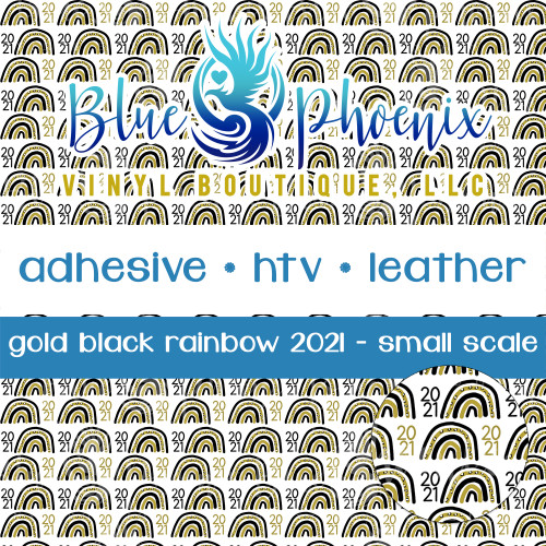 GOLD BLACK NEW YEAR SKETCH RAINBOW 2021 PATTERNED VINYL OR LEATHER