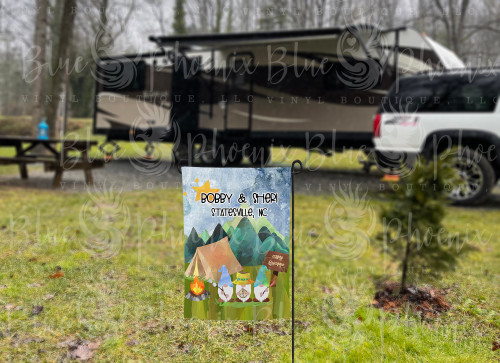 CAMPING GNOME WITH TENT MINI LAWN FLAG