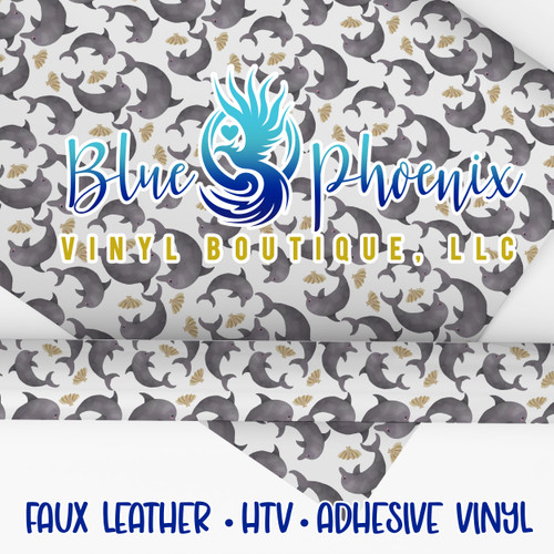 DOLPHINS PATTERNED VINYL OR LEATHER