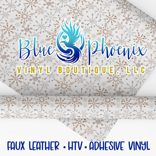 NEUTRAL SNOWFLAKES PATTERNED VINYL OR LEATHER