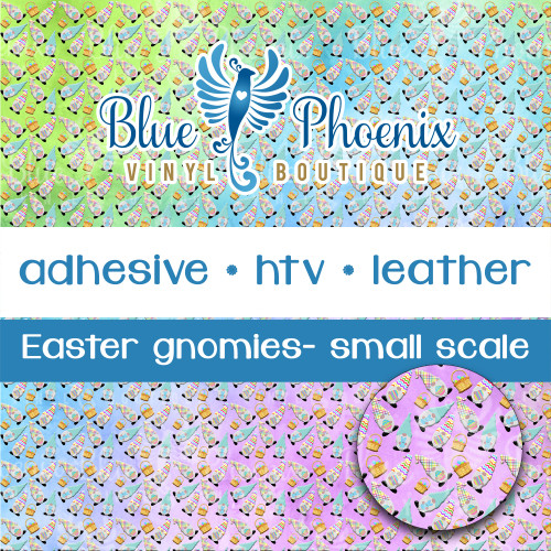 EASTER PASTEL GNOME PATTERNED VINYL OR LEATHER