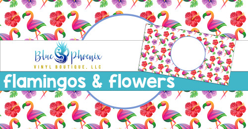FLAMINGOS AND FLOWERS LICENSE PLATE