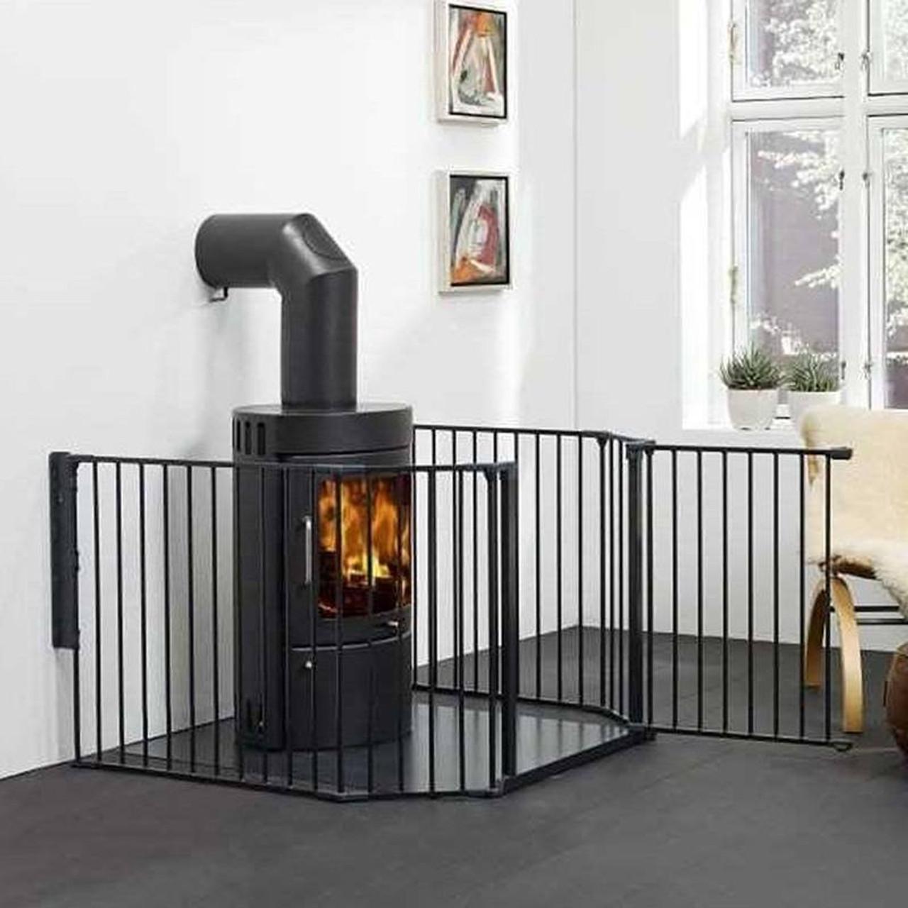 NEW BABYDAN BLACK METAL XL FLEXI FIT HEARTH//CONFIGURE GATE COVERS 90 TO 278 CM