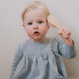 Haakaa Goats Wool Wooden Hairbrush baby use