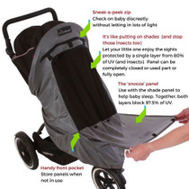 SnoozeShade Plus Deluxe - Single Prams & Buggie Snoozeshade