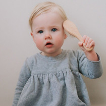 Haakaa Goats Wool Wooden Hairbrush baby use