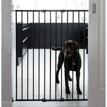 Babydan Quick Release Extra Tall Pet Gate Black with dog