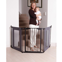 Dreambaby Denver Adapta Gate - Black Metal with Grey Mesh Panels live