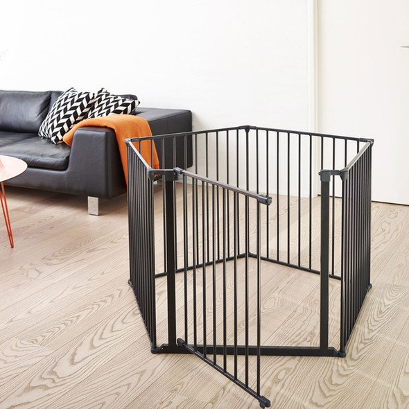 BabyDan Room Divider XXL Black 90-350cm + Wall Fittings BabyDan