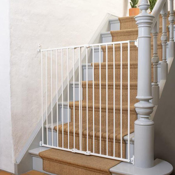 Babydan Quick Release Extra Tall Safety Gate White on staircase