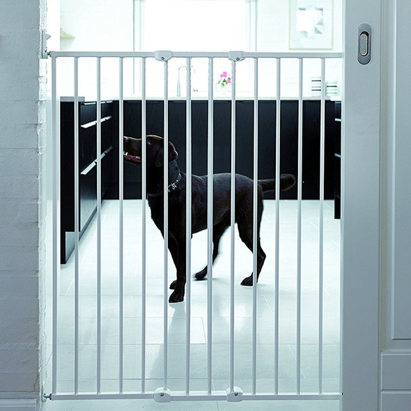 Babydan Quick Release Extra Tall Pet Gate White with dog