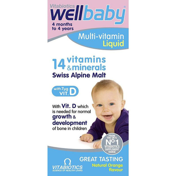 Vitabiotics Wellbaby Infant Liquid 4mth-4yr 150ml