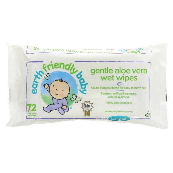 Earth Friendly Baby Gentle Aloa Vera Wet Wipes 72 pack