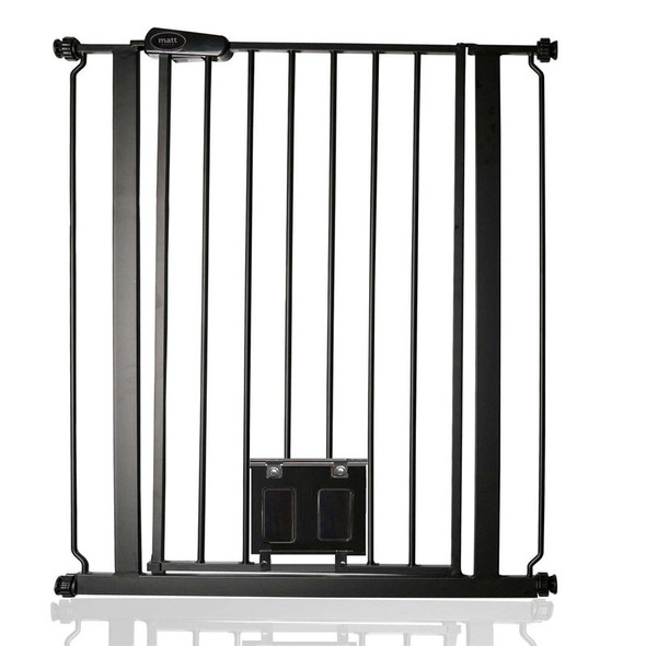 Bettacare Gate with Lockable Cat Flap Matt Black Extra Tall 75cm - 84cm