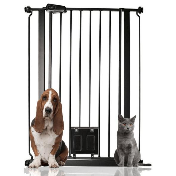 Bettacare Gate with Lockable Cat Flap Matt Black Extra Tall 75cm - 84cm Pets
