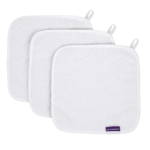 Clevamama Bamboo Baby Washcloth Set (3Pk) - White