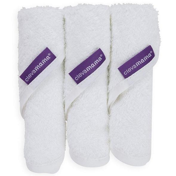 Clevamama Bamboo Baby Washcloth Set (3Pk) - White 2