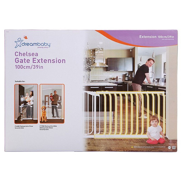 Dreambaby Chelsea 100cm Wide Gate Extension (White) box