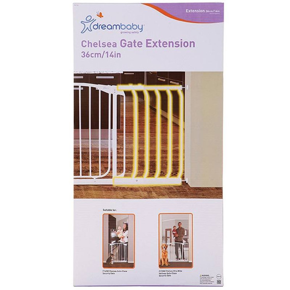 Dreambaby Chelsea 36cm Wide Gate Extension (White)