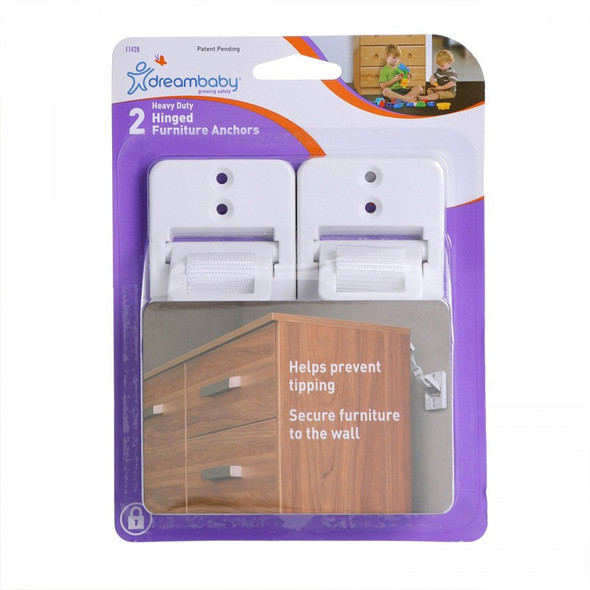 Dreambaby Patented Hinged Furniture Anchors 2pk package