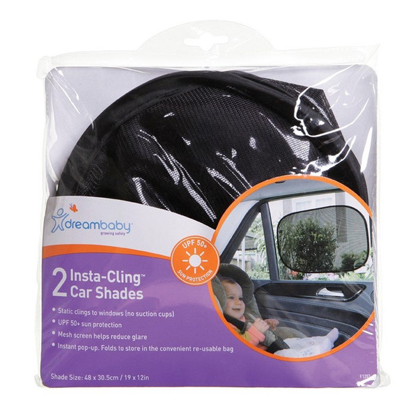 Dreambaby Insta-Cling Car Shades Black - 2 Pack packaging