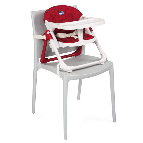 Chicco Chairy Booster Seat Ladybug (Red) attached to chair