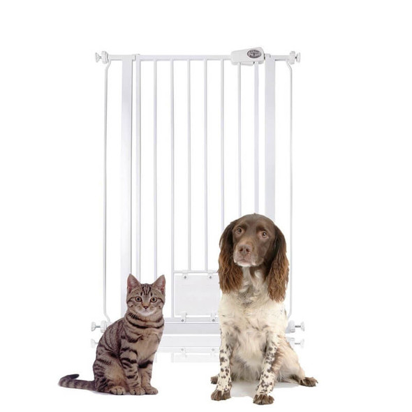 Bettacare Pet Gate Plus Cat Flap White 75cm-84cm